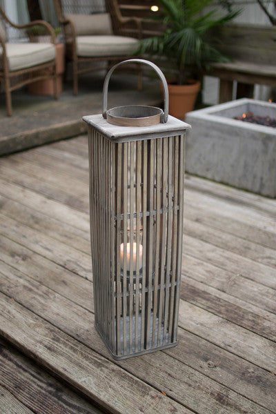 medium square grey bamboo lantern with glass