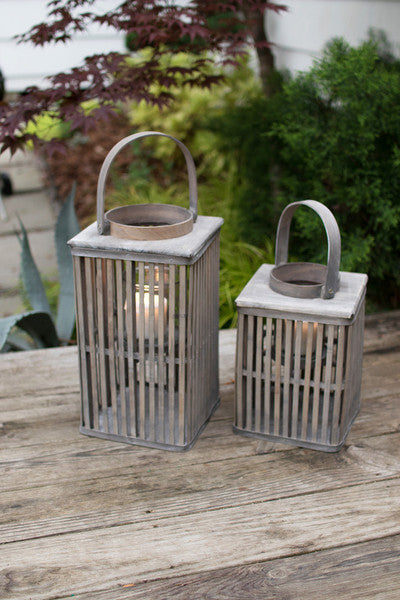 set of 2 square grey bamboo lanterns with glass