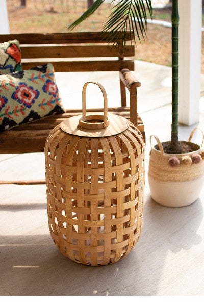 natural chipwood lanterns with glass insert \ large