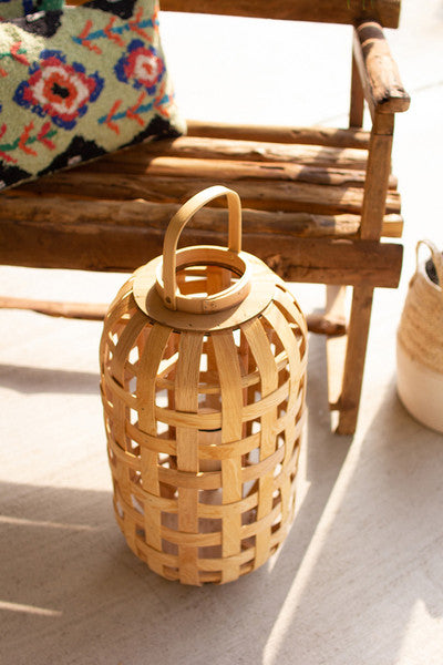 natural chipwood lanterns with glass insert \ medium