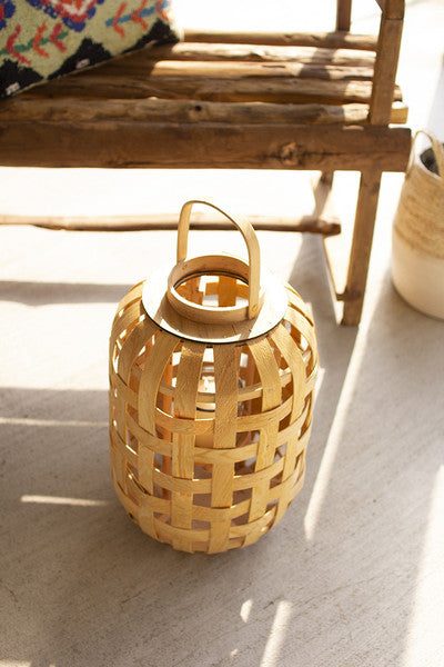 natural chipwood lanterns with glass insert \ small
