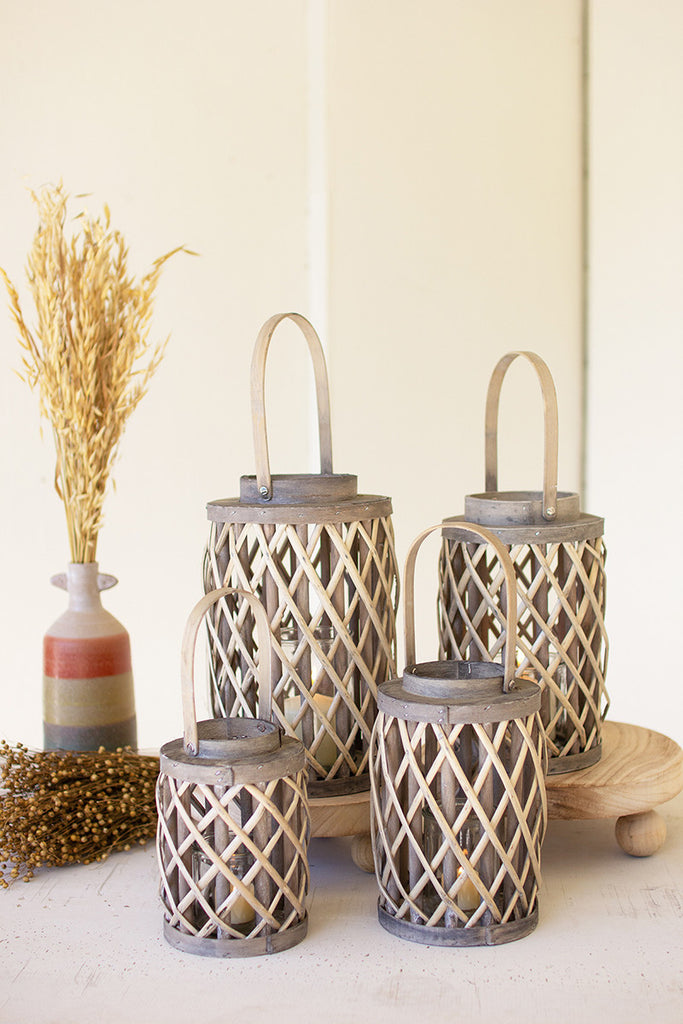 Grey Willow Cylinder Lanterns With Glass Inserts - Set of 4