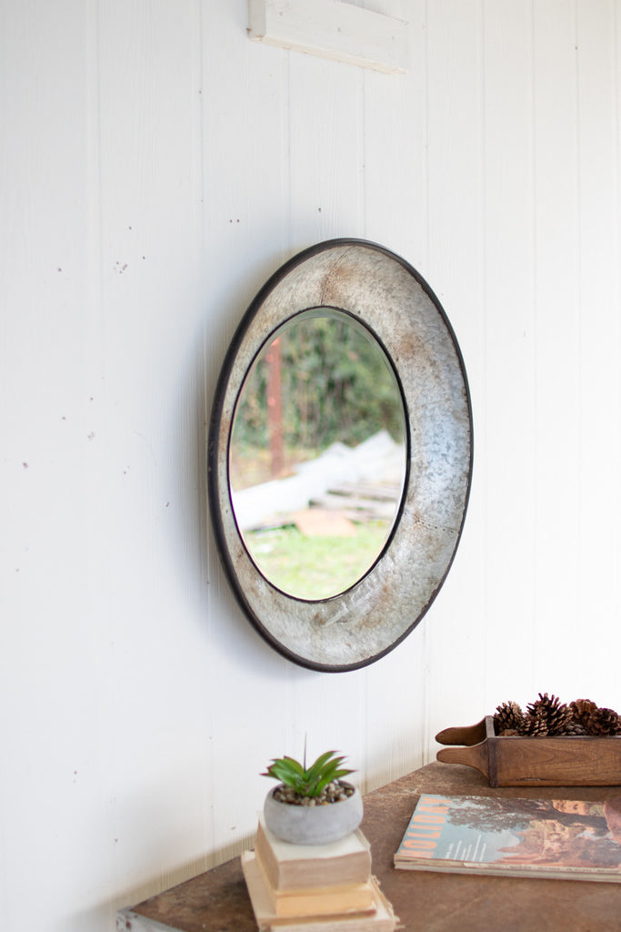 round natural metal mirror