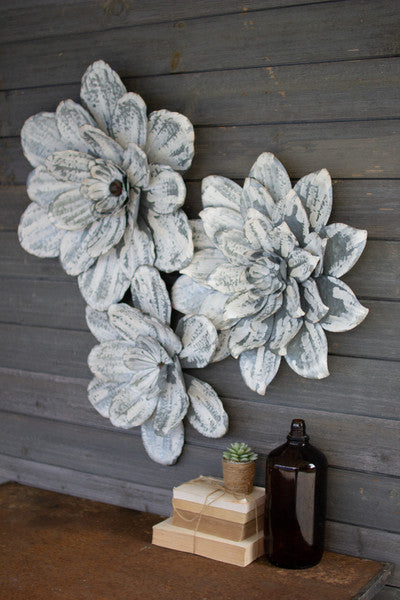 set of 3 whitewashed wall flowers
