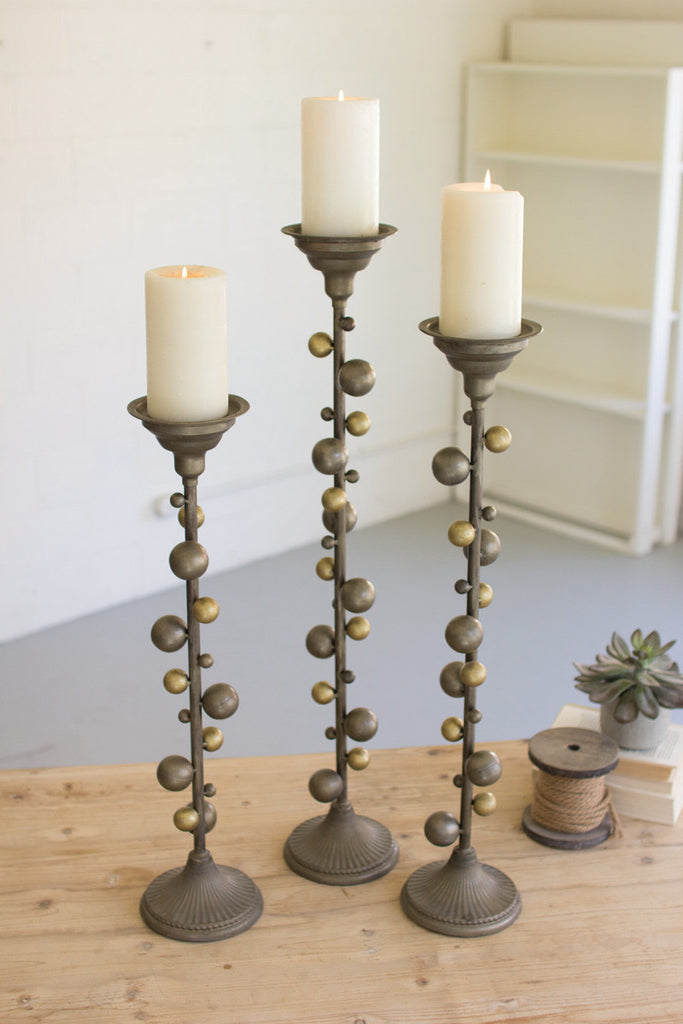 set of 3 metal candle stands with ball details