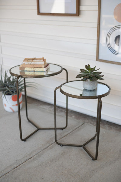 set of two metal side tables with mirror tops