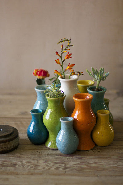 set of 13 multi-colored ceramic vases