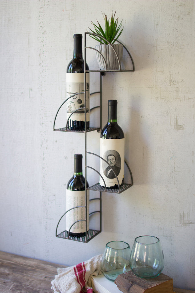 Four Bottle Metal Wall Shelf