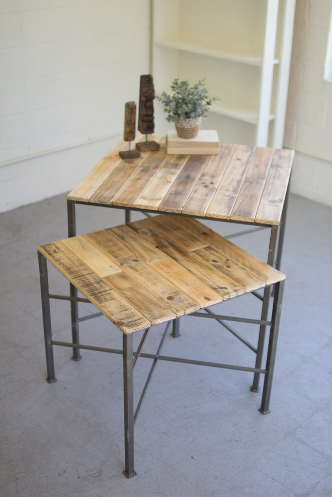 Metal Display Tables With Recycled Wood Tops - Set of 2