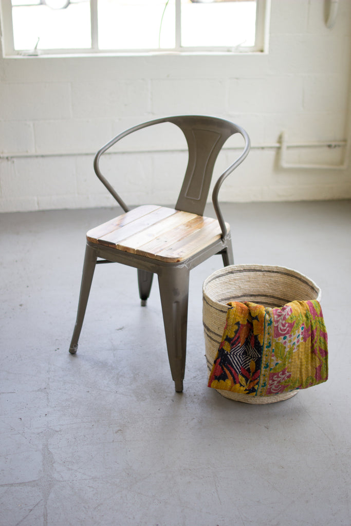 Metal Arm Chair With Worn Recycled Wood Seat