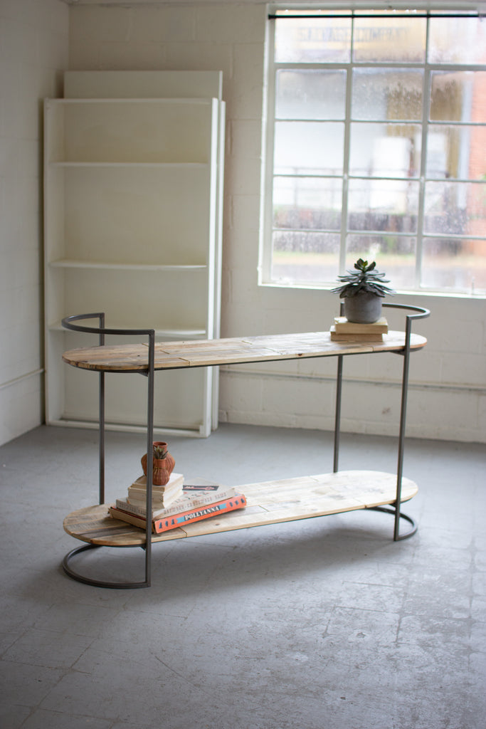 Oval Recycled Wood & Iron Console