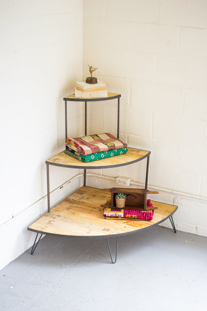 Recycled Wood & Iron Three Tiered Corner Display