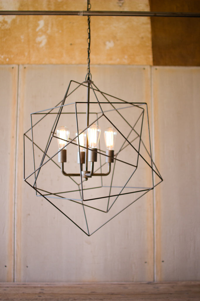 Triple Wire Cube Pendant Light