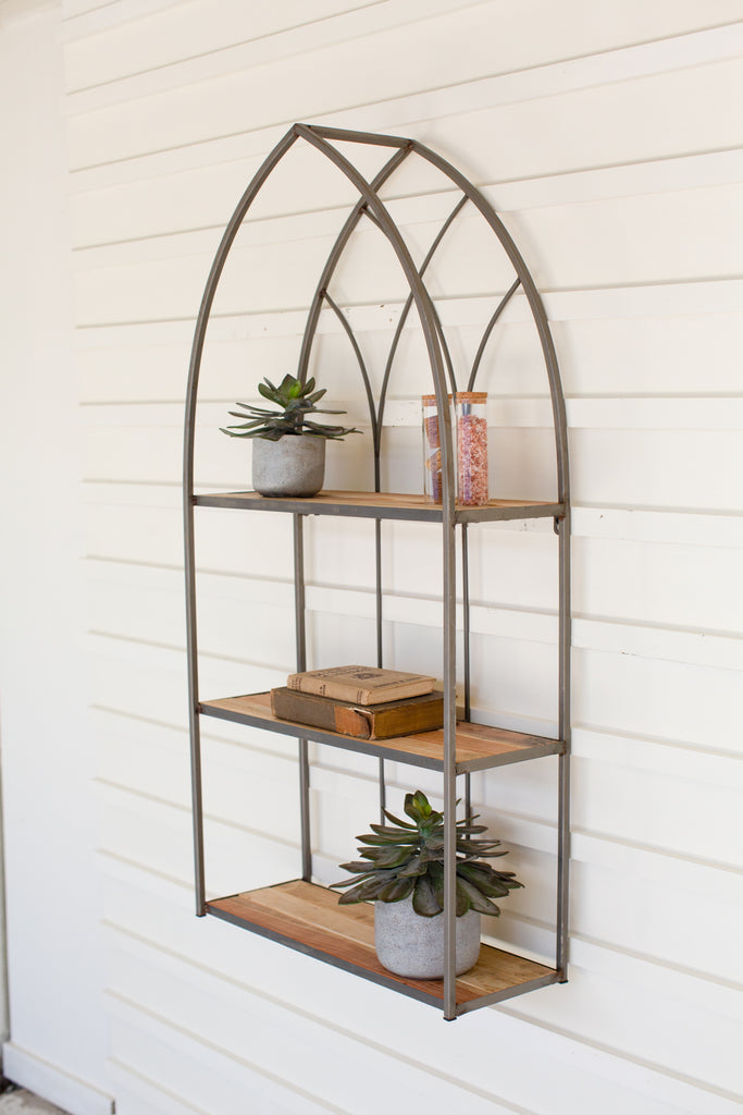 Recycled Wood & Metal Cathedral Shelf