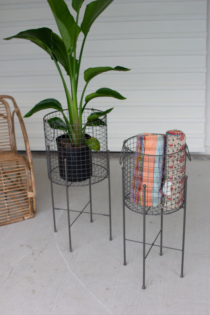 Wire Mesh Baskets On Stands - Set of 2