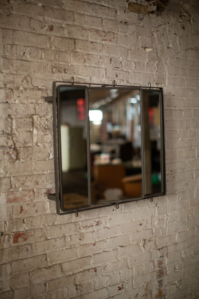 Three Rotating Wall Mirrors With Metal Frame