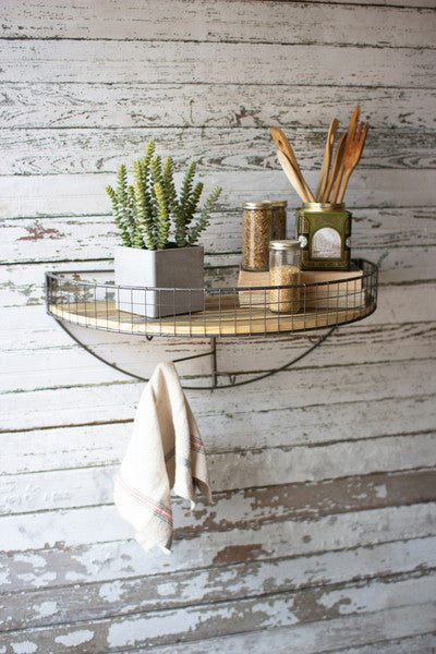 Wire And Wood Demi Lune Wall Shelf With Swivel Hooks