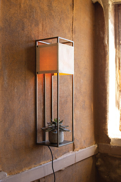Wall Lamp With Metal Frame And Canvas Shade
