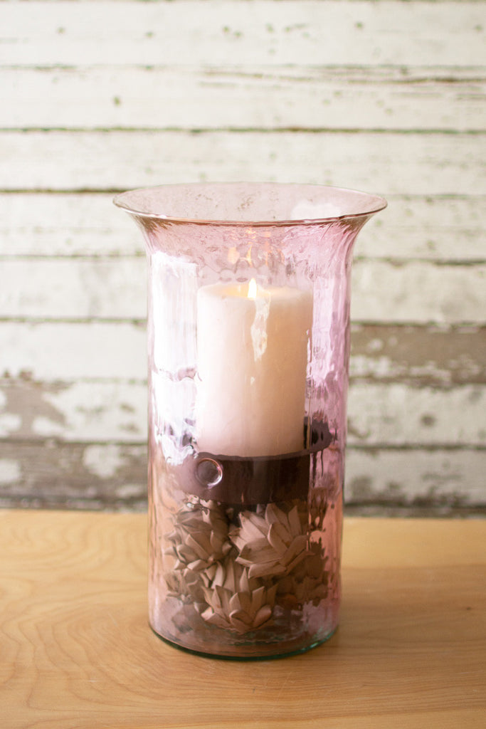 Original Lilac Candle Cylinder With Rustic Inserts - Medium