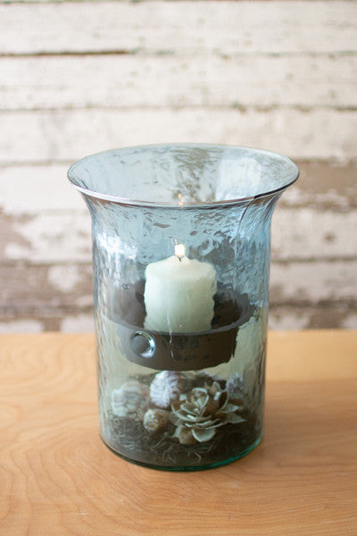 Original Sky Blue Glass Candle Cylinders With Rustic Inserts - Small