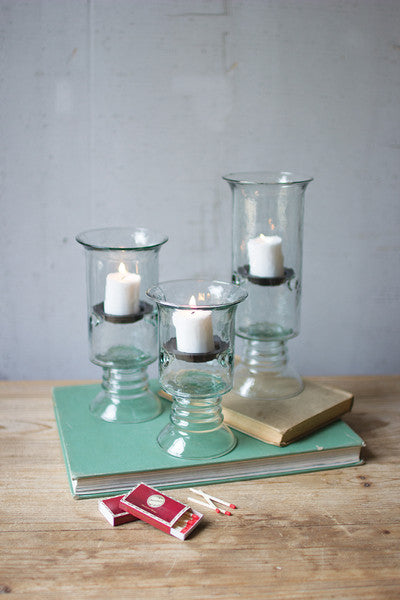 Recycled Glass Votive Cylinders With Glass Base - Set of 3