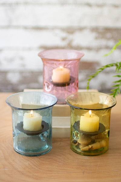 Mini Glass Votive Cylinders - Set of 3