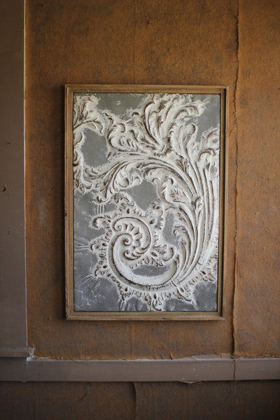 Wood Framed Pressed Metal Wall Art