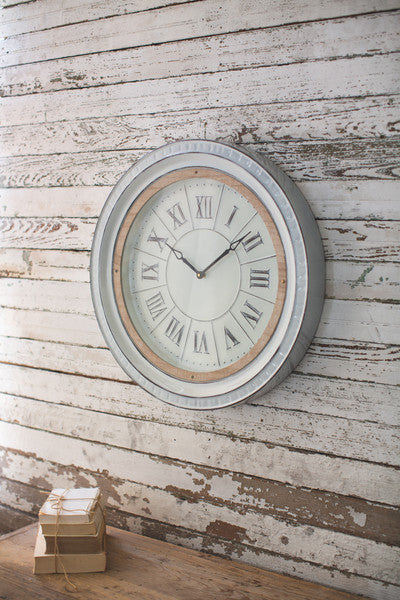 Enamelware Clock With Wood Detail