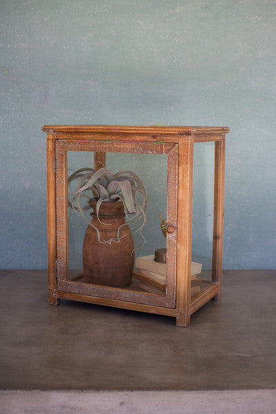 Tall Wood & Glass Display Case