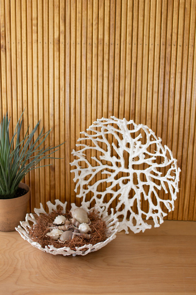 Handmade Paper And Wire Coral Baskets - Set of 2