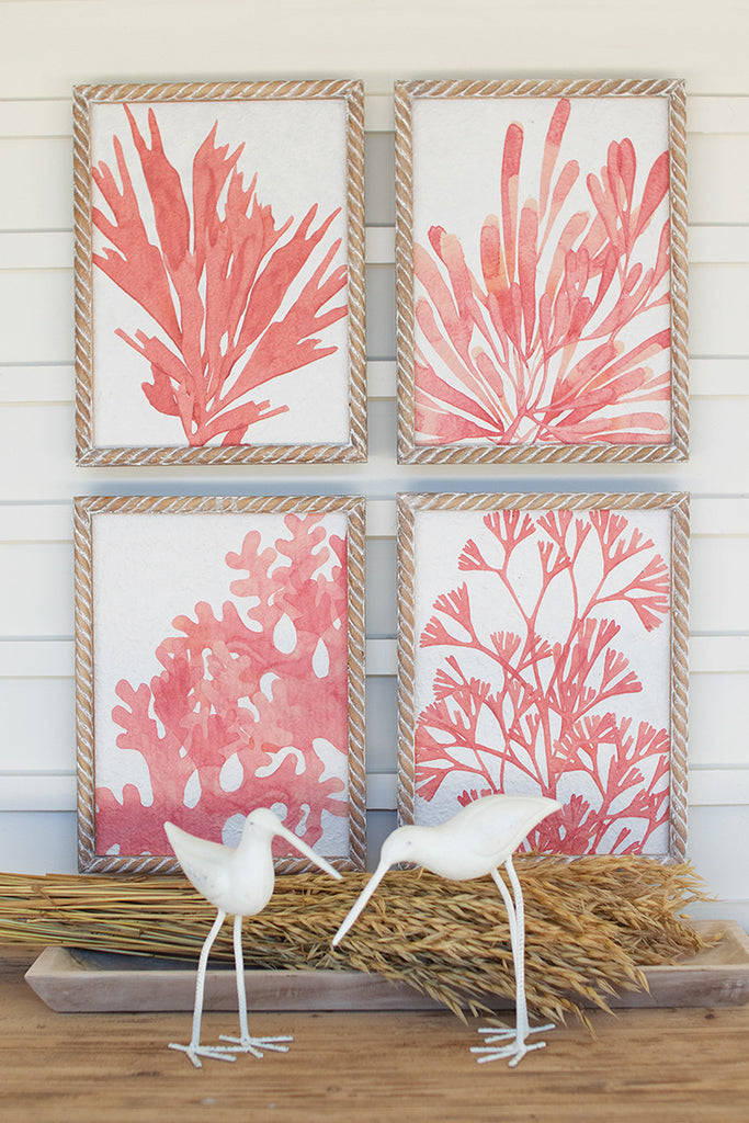 Coral Prints With Wooden Frames - Set of 4