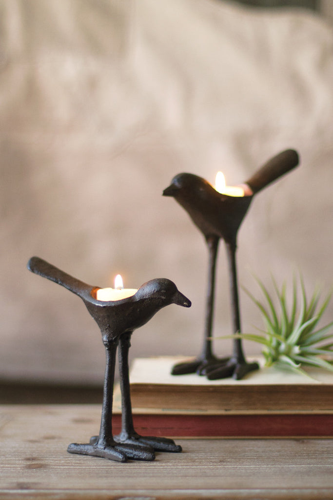 Cast Iron Bird Tea Light Holders - Set of 2