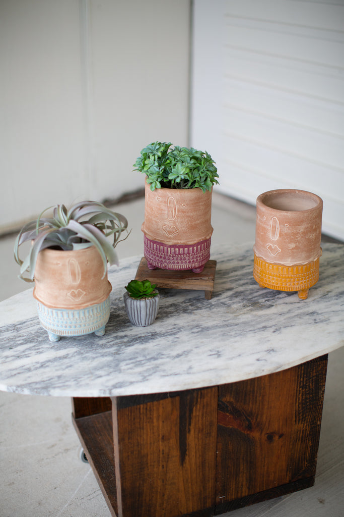 Clay Face Planters with Colorful Bases - Set of 3