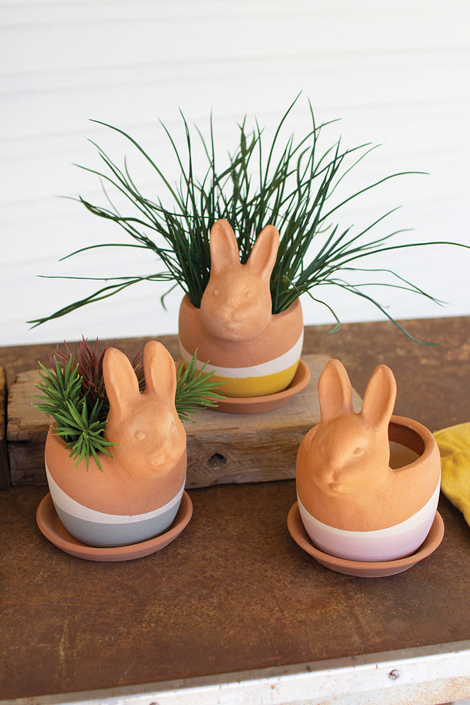 Clay Bunny Planters - Set of 3