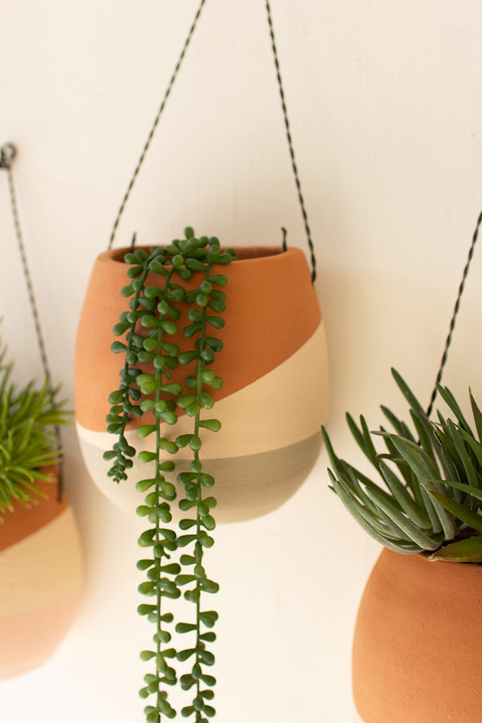 Color Dipped Clay Wall Pocket Planters With Wire Hangers - Set of 3