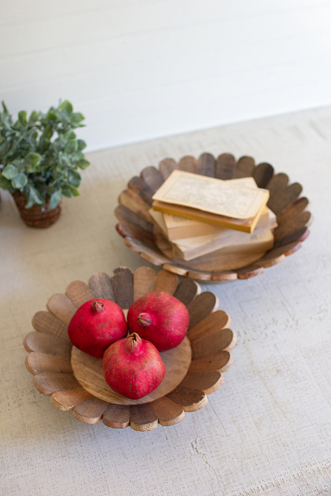 Flower Shaped Recycled Wood Bowls - Set of 2