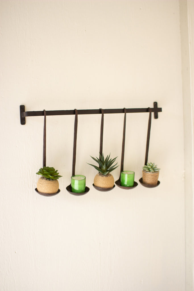 Wall Hanging With Five Hand Forged Iron Ladles