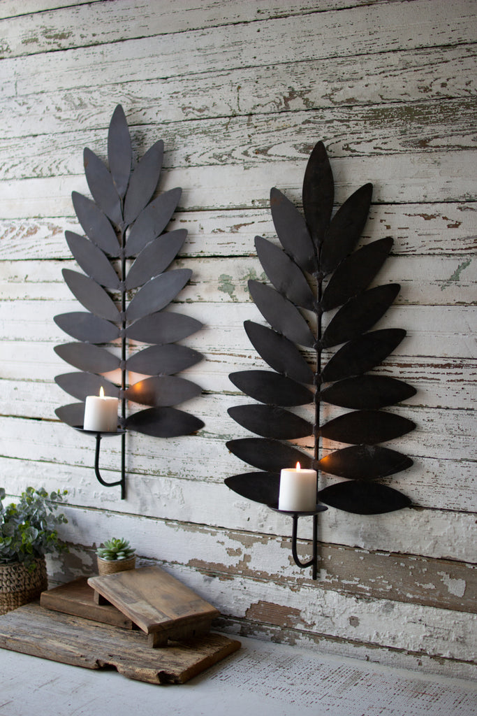 Iron Leaf Candle Sconces - Set of 2