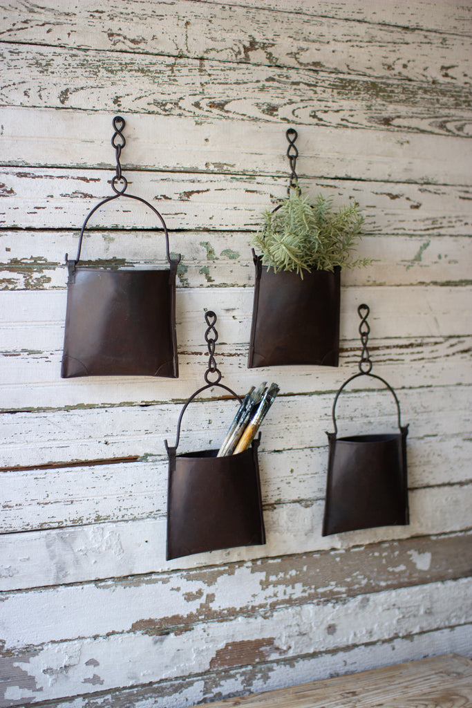 Hanging Iron Pocket Bucket With Chain - Set of 4