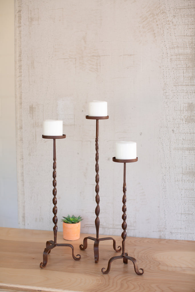 Hand Forged iron Candle Stands - Set of 3