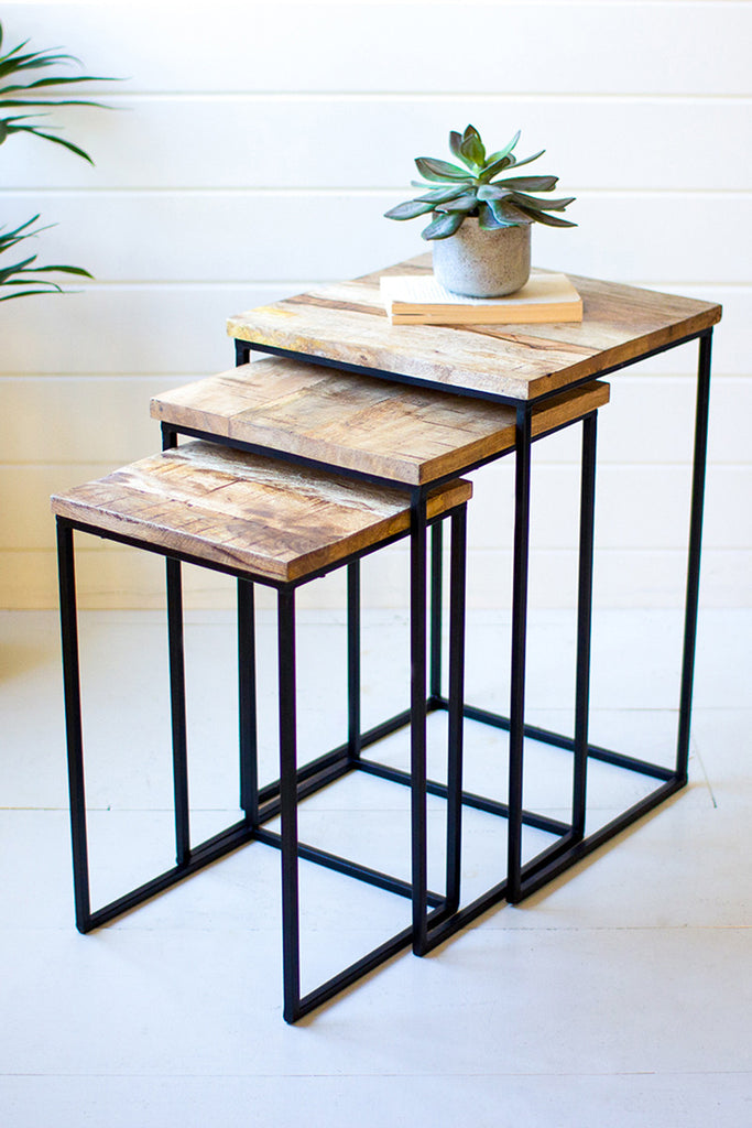 Nesting Square Mango Wood and Metal Tables - Set of 3