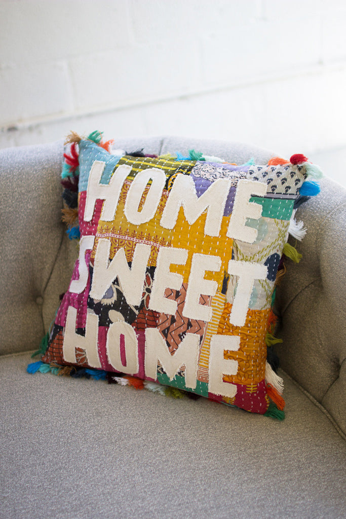 Home Sweet Home Kantha Pillow With Tassels