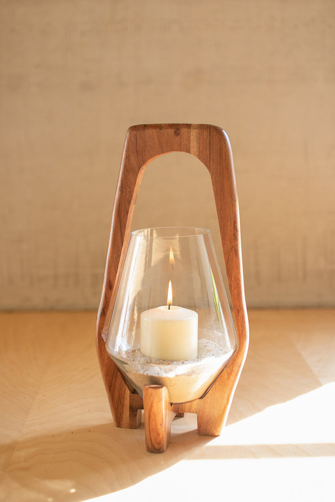 Oval Wood and Glass Lanterns