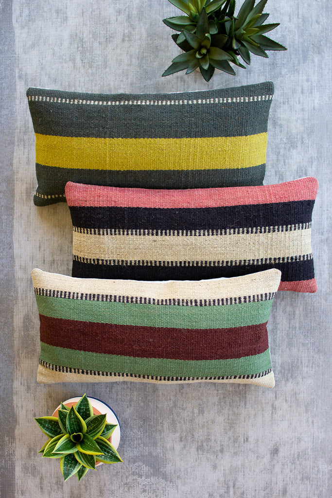 Striped Jute Lumbar Pillows - Set of 3