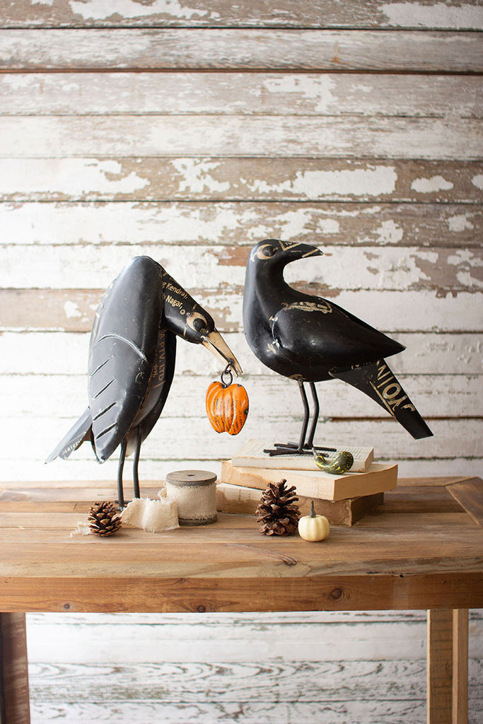 Recycled Iron Crows Holding A Pumpkin - Set of 2
