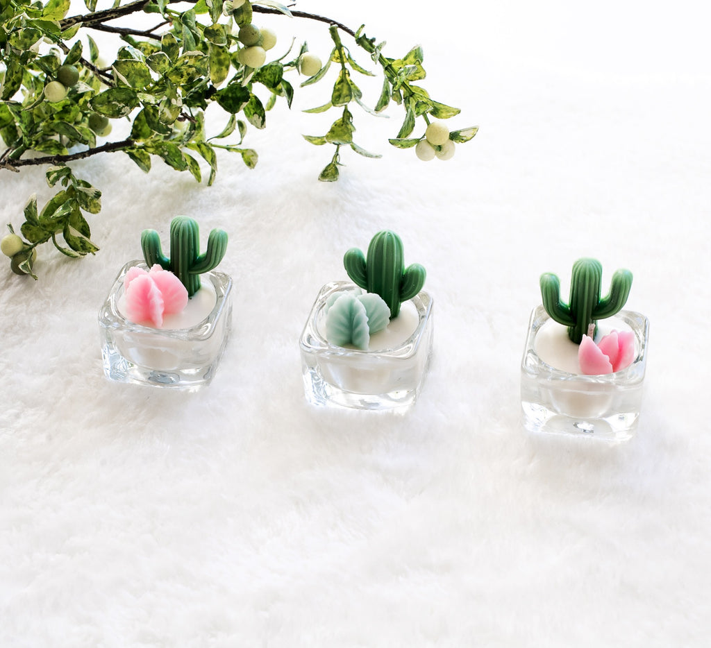Cactus And Succulent Tea Light Soy Candles