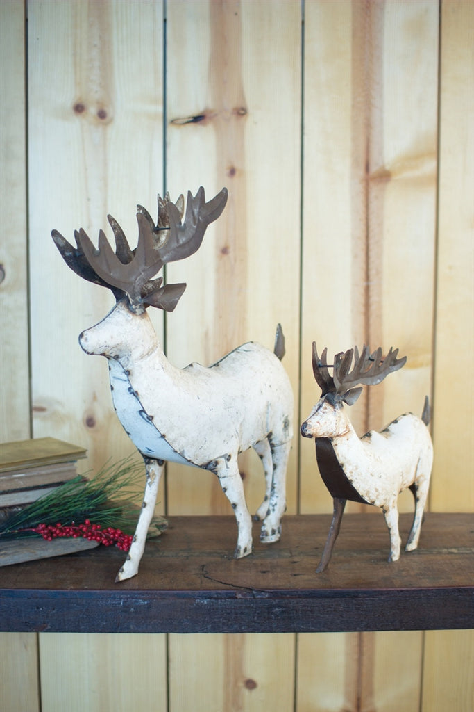 Recycled White Metal Deer - Small
