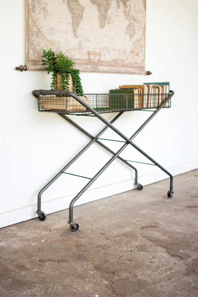 Rolling Metal Basket Console