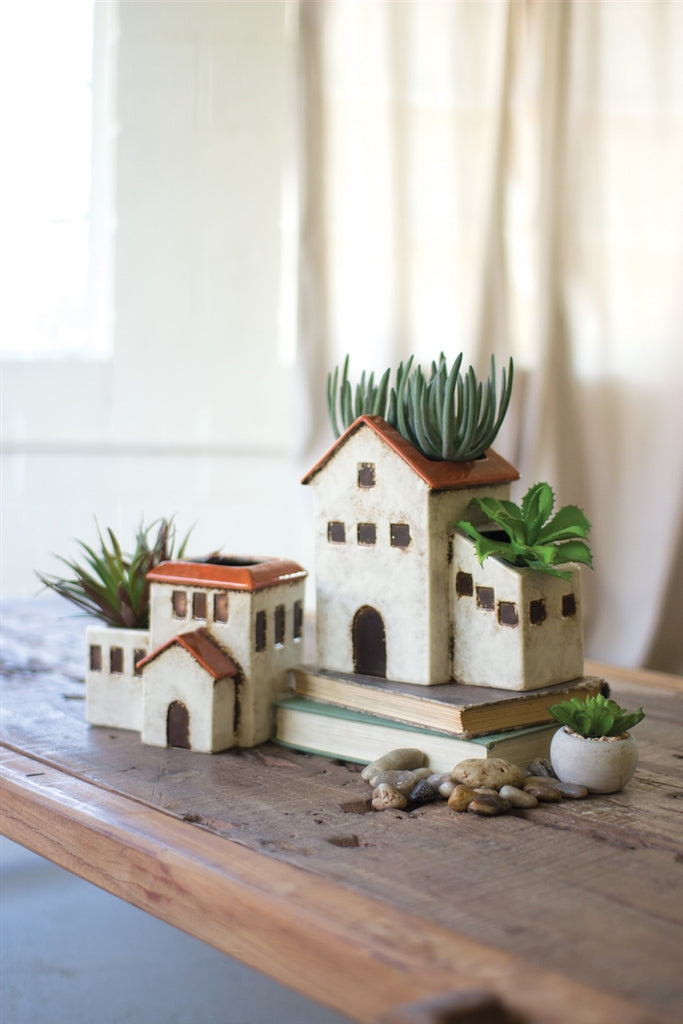 Ceramic House Planters - Set of 2