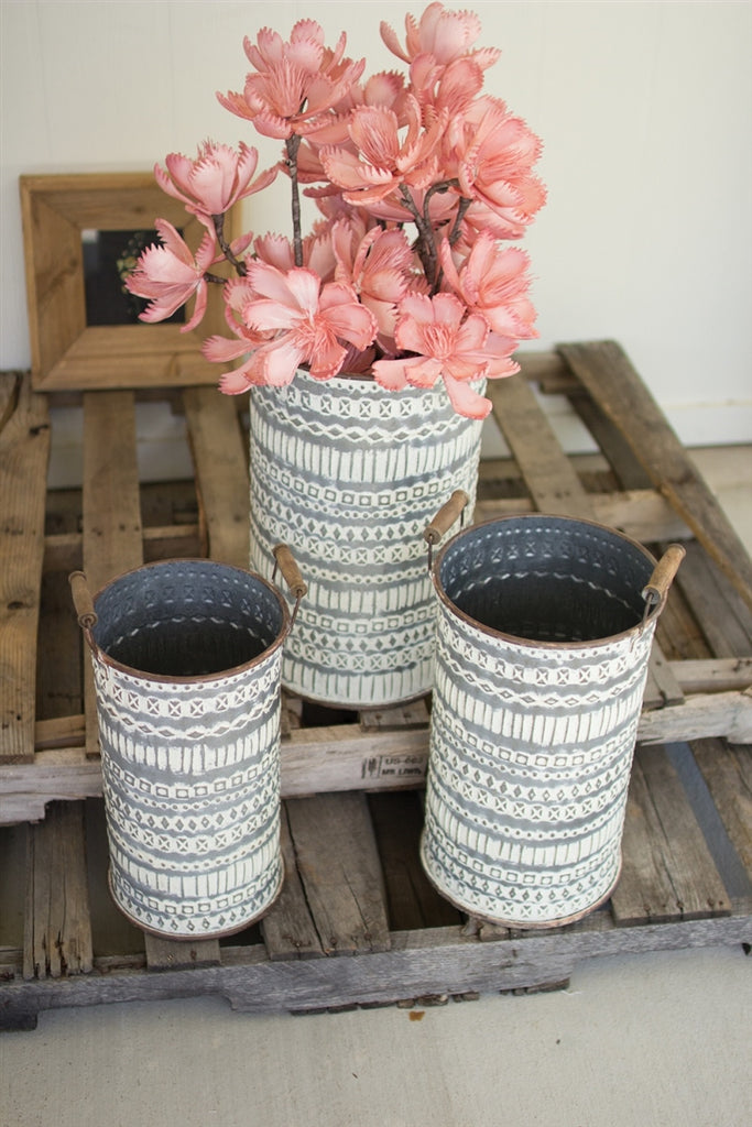 Pressed Tin Buckets With Wooden Handles - Set of 3